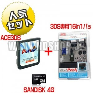 ACE3DS+SANDISK 4G+3DS専用16in1パック セット